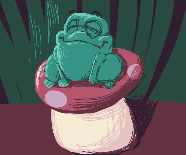 Happy frog on a mushroom
