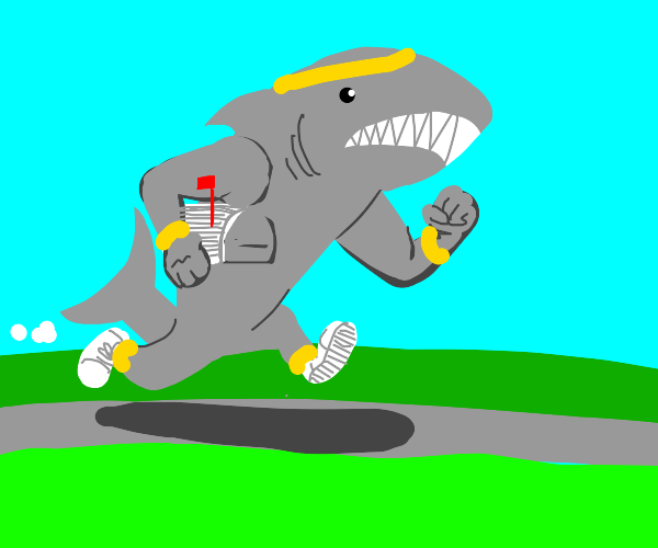 Shark jogging with a Mailbox
