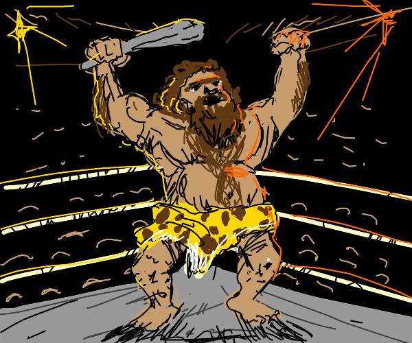 Caveman in wrestling ring