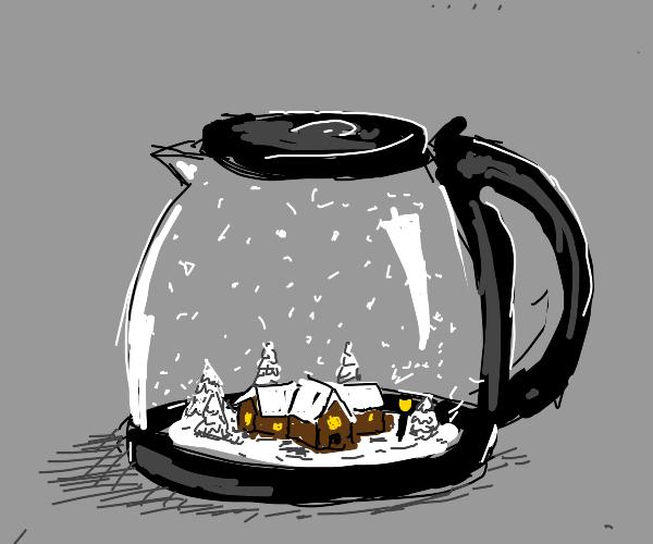 Snowglobe in coffee pot