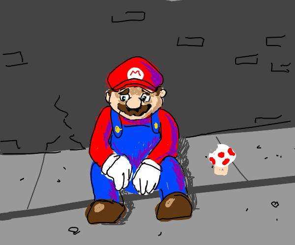 Depressed Mario sitting on the sidewalk
