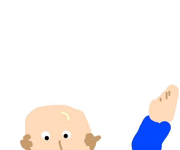 Bald man waving
