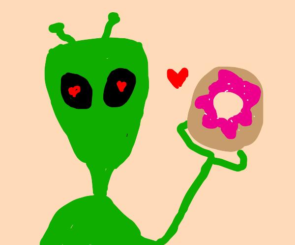 Alien loves donuts