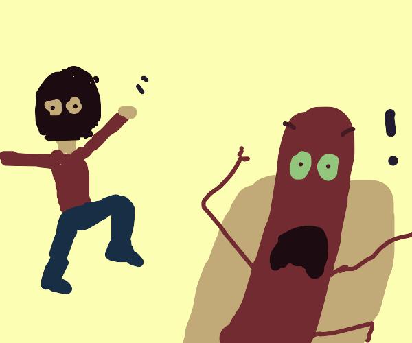 masked man scares poor bratwurst