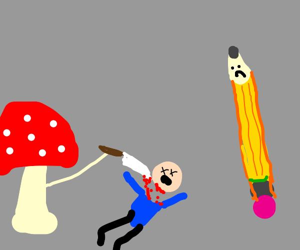 mushroom beheads a dude whilst a pencil watch