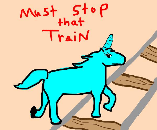 Unicorn stops a train