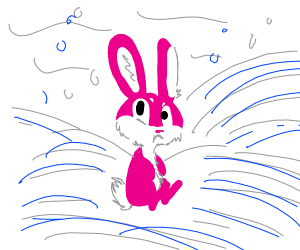 pink bunny in the arctic