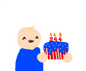 kid holding WHOLE BIRTHDAY CAKE