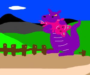 a dragon eating a pig