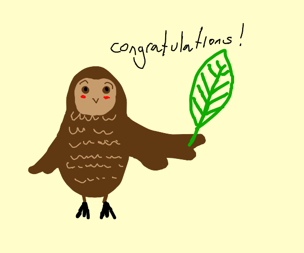 Owl offers you a leaf as prize