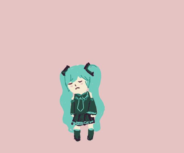 Hatsune Miku is sad
