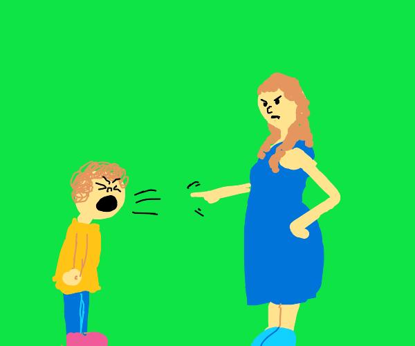 Kid yelling at mom
