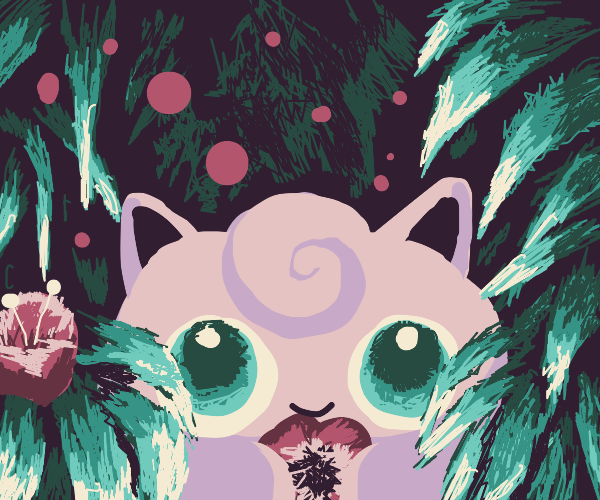 Jigglypuff in green Christmas scene