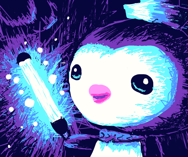 Cute penguin in the dark w/light saber