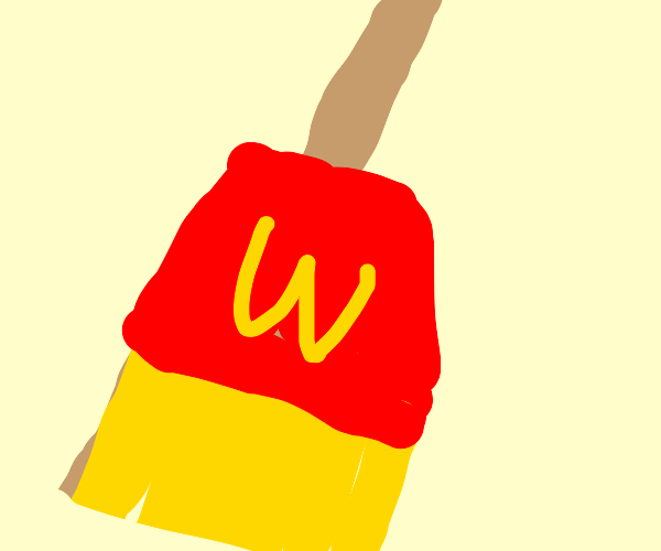 the end of a broom, but french fry-esque