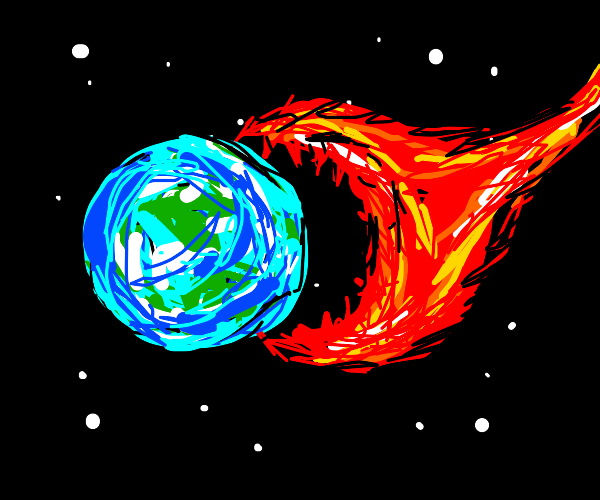The earth is attacked by a fire ball
