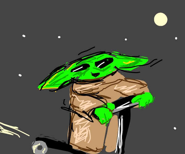 Baby Yoda riding a scooter