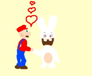 "mario having ""romantic moment"" with rabbit"