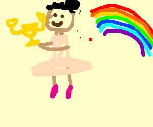 Trophy winning ballerina+rainbows