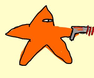 one eyed starfish with a lazer gun