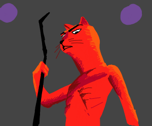 red angry magical cat