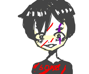 anime edgy boi with purple scar on one eye