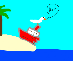 seagull sits on shipwreck and says bar