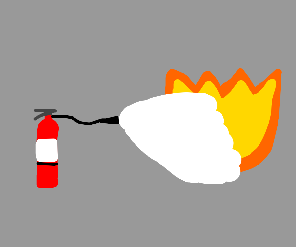 Fire Extinguisher Extinguishes a fire