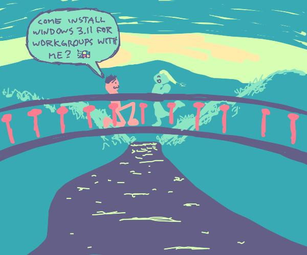 A romantic proposal on a bridge.