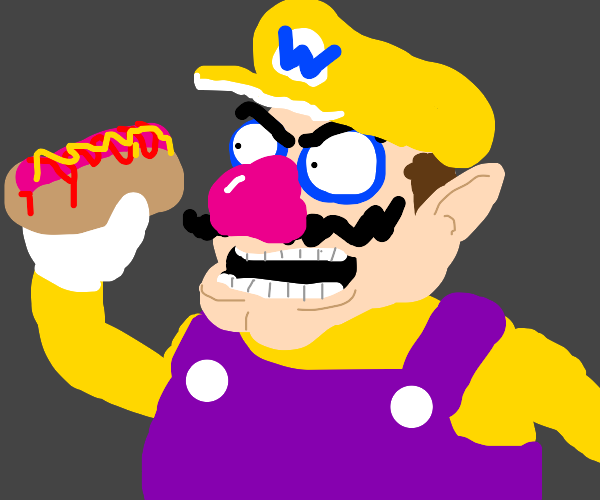 Wario eats hotdogs