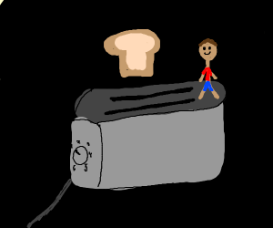 man walking a toaster