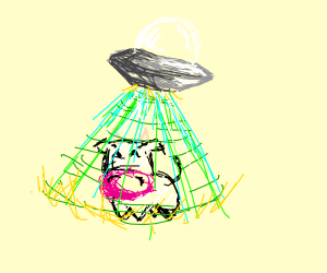 UFO beaming up a cow