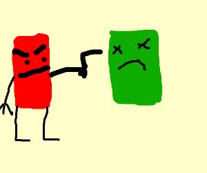 Block person shoots green block with gun
