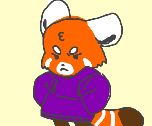Angry red panda in a purple hoodie?