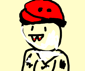 vampire boi in a red beret