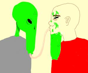 man kisses alien in disguise