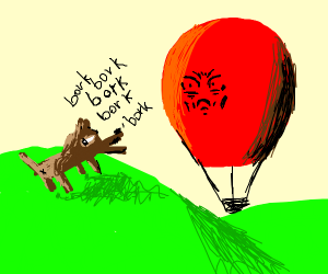 dog barks at red balloon