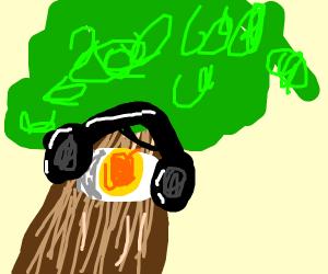Sad Phill eggtree with headphone