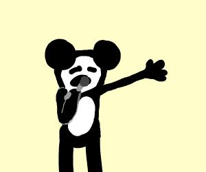 Mickey mouse doing kareoke
