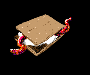 A worm on a s'more