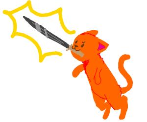 Cat has found the Sword!