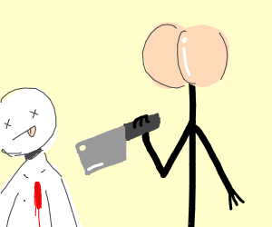 Butt face stick man killing Someone