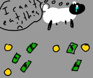 Sad sheep with money