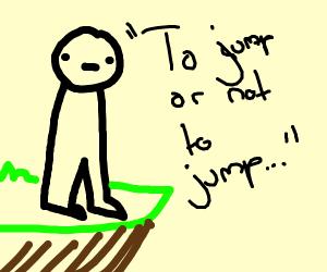 Man debating jumping off a clifff