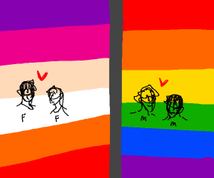 A gay couple and a lesbian couple