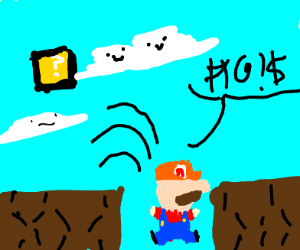 Mario jumps into pit