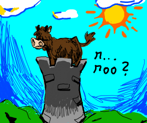 Shaggy haired cow at a tower
