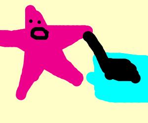 No pants patric star vacuuming a blue carpet.