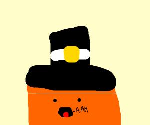 screaming orange box wearing a hat