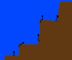 people climbing giant stairs